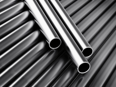 Large group of steel tubes. 3D illustration. Stock Illustration - 120536089