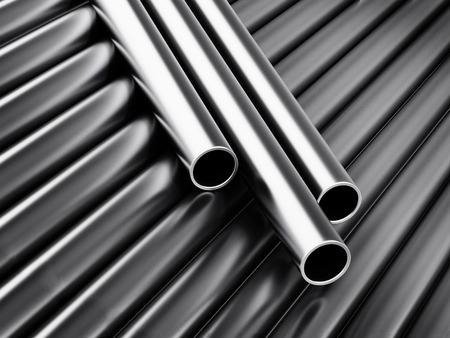 Large group of steel tubes. 3D illustration.