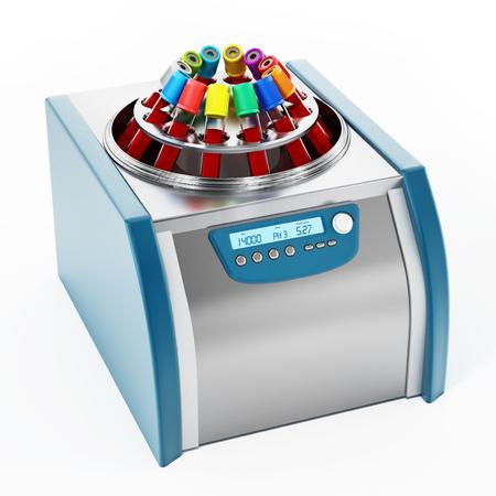 Blood centrifuge machine with test tubes full of blood samples. 3D illustration.