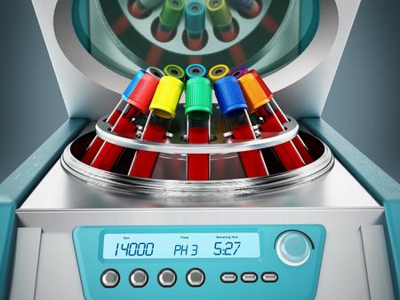 Blood centrifuge machine with test tubes full of blood samples. 3D illustration. Stock Illustration - 120290261