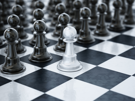 White chess pawn standing one square ahead of black chess pieces. 3D illustration.