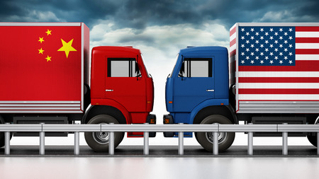 Trucks with USA and China flags come across in narrow road. 3D illustration.