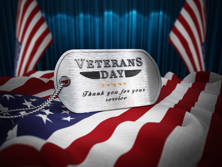 Veterans Day dogtag standing on American flag. 3D illustration.
