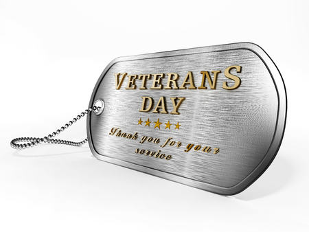 Veterans Day dogtag standing on American flag. 3D illustration.