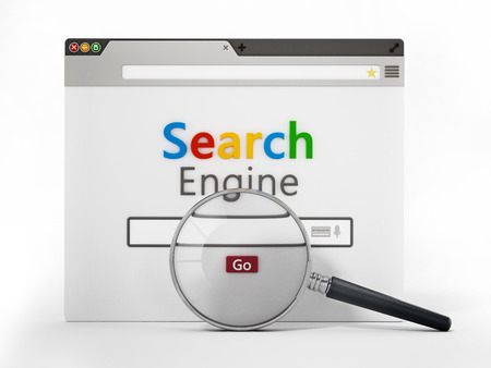 Magnifying glass on fictitious search engine website. 3D illustration.