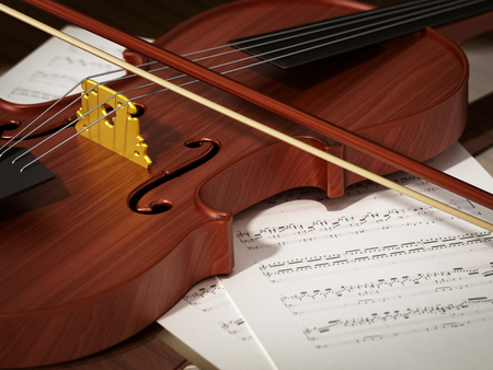 Close up of violin standing on music sheet. 3D illustration. Stock Photo