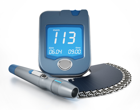 Blood glucose meter with strips isolated on white background. 3D illustration. Stock Photo