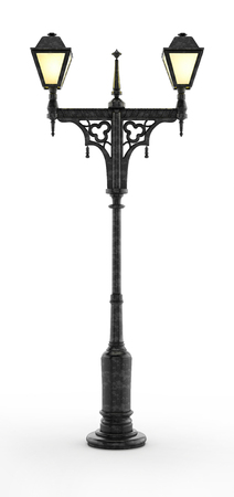 Victorian style street lamp isolated on white background. 3D illustration.