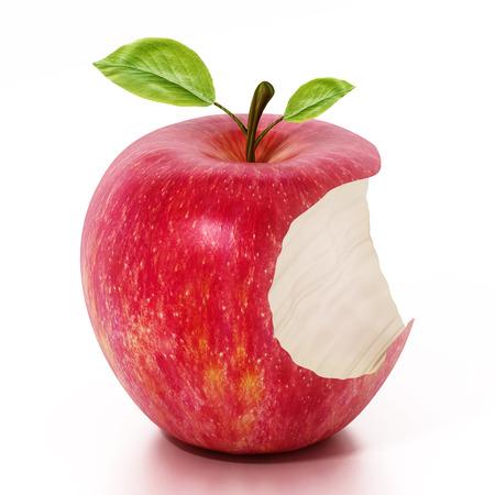 Half eaten red apple isolated on white background. 3D illustration.