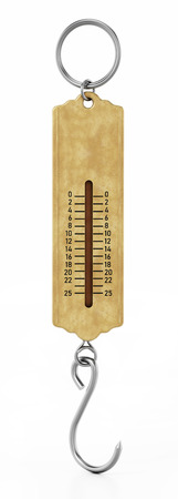 Vintage spring scale isolated on white background. 3D illustration.