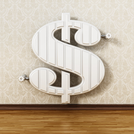 Dollar shaped radiator hanging on the wall. 3D illustration.