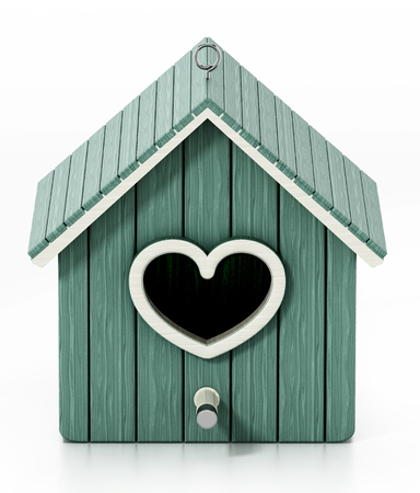 Bird house with heart shaped door. 3D illustration.