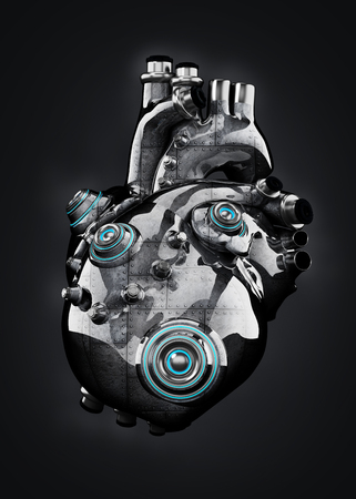 Artificial mechanic chrome heart isolated on black. 3D illustration. Stock Photo