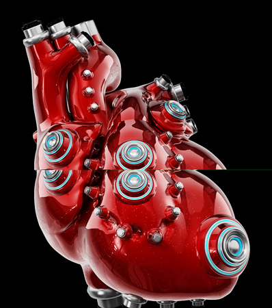 Artificial mechanic red heart isolated on black. 3D illustration.