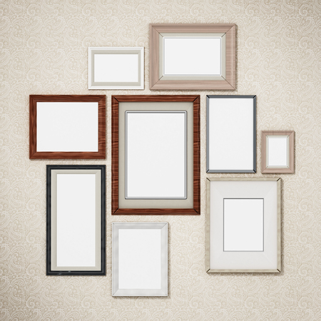 Picture frames arranged on the wall. 3D dimensional. Standard-Bild - 122147205