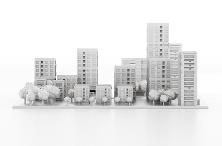 Architectural model printed in a 3D printer. 3D illustration.