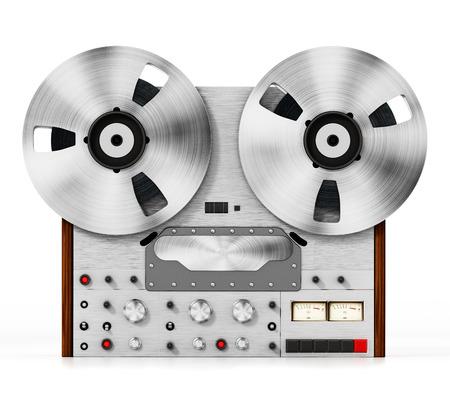 Vintage audio recording machine isolated on white background. 3D illustration.