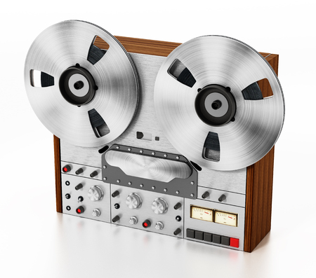 Vintage audio recording machine isolated on white background. 3D illustration.