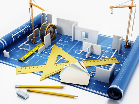 House construction project with rulers, tape measure, pencils and color cartela. 3D illustration. Stockfoto - 123402644
