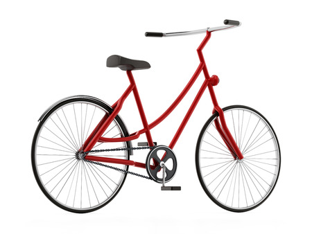 Red bicycle isolated on white background. 3D illustration. Stok Fotoğraf