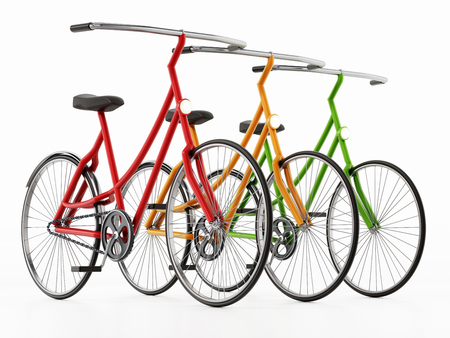 Red, yellow and green bicycles isolated on white background. 3D illustration.