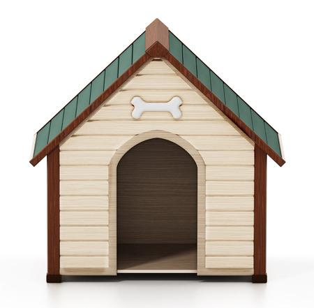 Doghouse isolated on white background. 3D illustration. Stock Photo