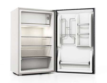 Réfrigérateur d'hôtel de petite taille isolé sur fond blanc. illustration 3D. Banque d'images