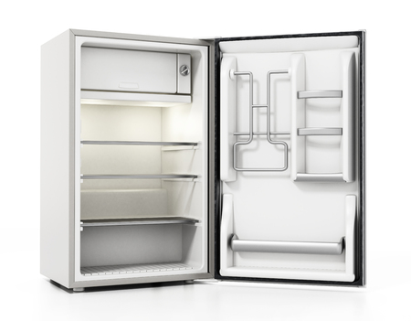 Small size hotel refrigerator isolated on white background. 3D illustration. Foto de archivo