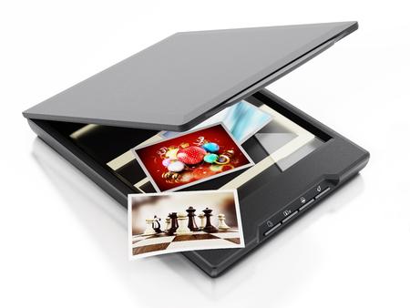 Photos being scanned inside modern scanner. 3D illustration.