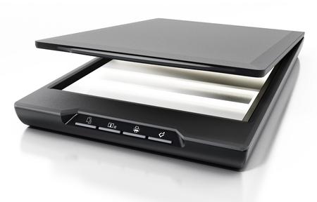 Moderner Scanner getrennt auf weißem Hintergrund. 3D-Darstellung. Standard-Bild