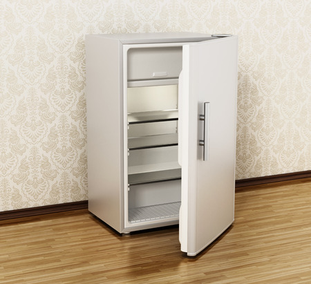Small size hotel refrigerator standing on parquet floor. 3D illustration. Фото со стока