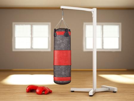 Boxing sandbag hanging on the chain inside a room. 3D illustration.