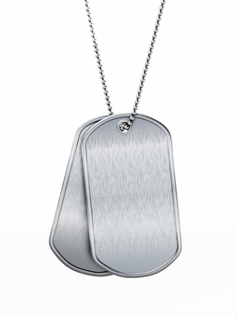 Blank soldier dogtags isolated on white background. 3D illustration.