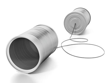 Barattoli di latta collegati tra loro con una corda. illustrazione 3D. Archivio Fotografico