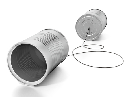 Tin cans connected to each other with a rope. 3D illustration.