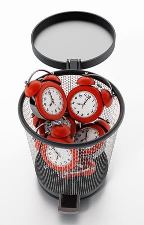 Red alarm clocks inside garbage bin isolated on white. 3D illustration. Stockfoto