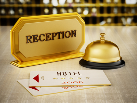 Hotel key card, bell and reception sign on hotel front desk. 3D illustration.