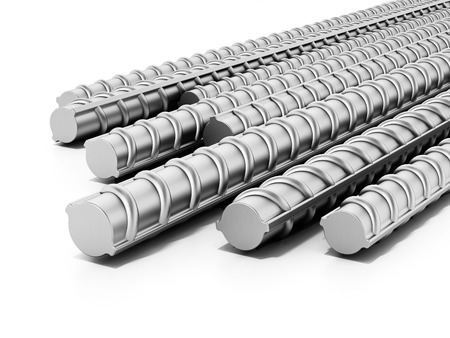 Iron construction bars isolated on white background. 3D illustration. 스톡 콘텐츠