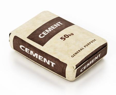 Zementbeutel mit generischem Verpackungsdesign isoliert auf weißem Hintergrund. 3D-Darstellung.