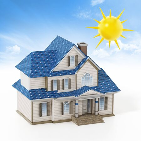 Luxury house covered with solar panels colllecting sunbeam. 3D illustration.