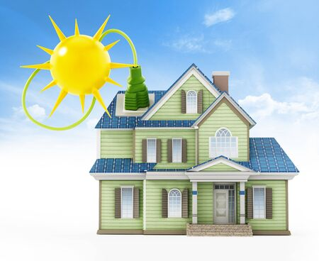 Luxury house covered with solar panels colllecting sunbeam. 3D illustration. Archivio Fotografico - 124865693