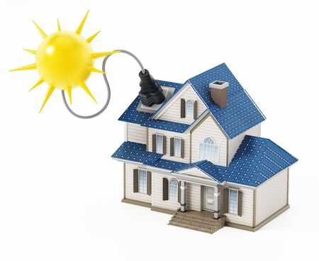 Luxury house covered with solar panels colllecting sunbeam. 3D illustration. Archivio Fotografico - 124865707