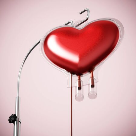 Blood inside heart shaped bag. 3D illustration.