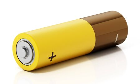Generic AA battery isolated on white background. 3D illustration.
