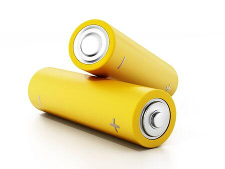 Generic AA batteries isolated on white background. 3D illustration.