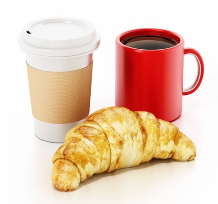 Coffe mug, cup and croissant isolated on white background. 3D illustration.