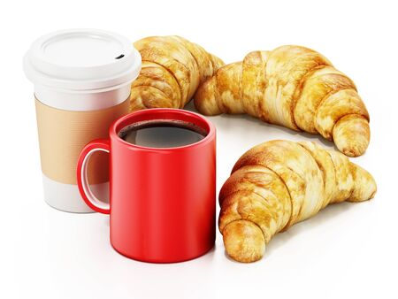 Coffe mug, cup and croissants isolated on white background. 3D illustration. Stock Photo