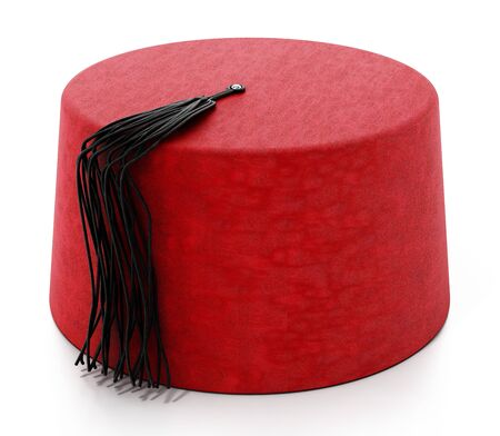 Red fez hat with black tassel. 3D illustration. Stock Photo