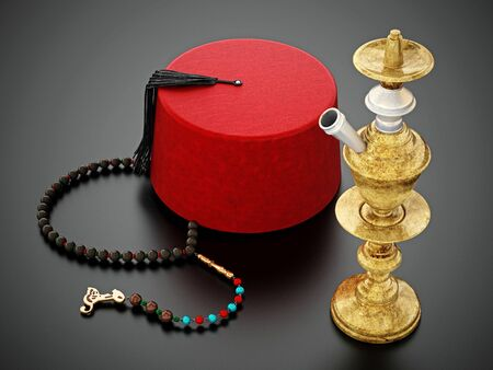 Red fez hat, prayer beads and hookah. 3D illustration.