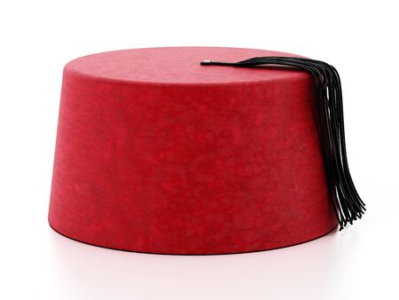 Red fez hat with black tassel. 3D illustration. 版權商用圖片